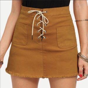 """Sandy"" Lace Up Raw Hem Skirt with Pockets"